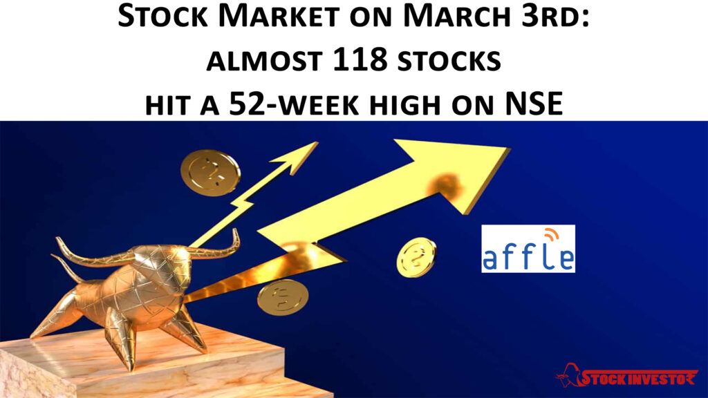Stock Market on March 3rd: almost 118 stocks hit a 52-week high on NSE