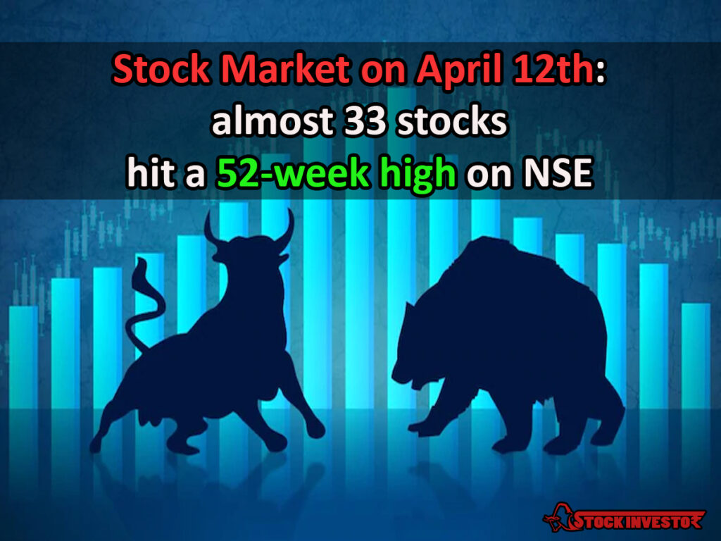 Stock Market on April 12th: almost 33 stocks hit a 52-week high on NSE